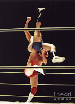 Photograph - The Landing Is Going To Hurt With Old School Wrestling From The Cow Palace  by Jim Fitzpatrick