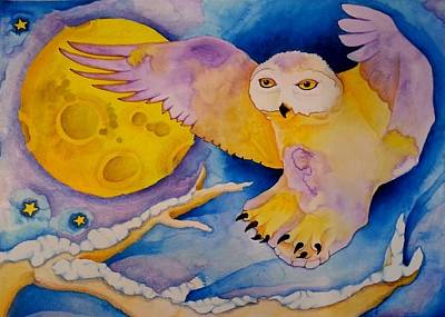 The Landing Of Snowy Owl Art Print