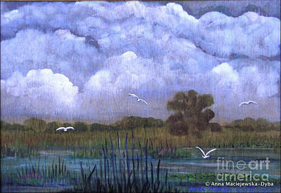 Polscy Malarze Painting - The Landscape With The Clouds by Anna Folkartanna Maciejewska-Dyba