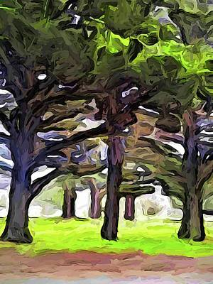 Digital Art - The Landscape With The Leaning Trees by Jackie VanO