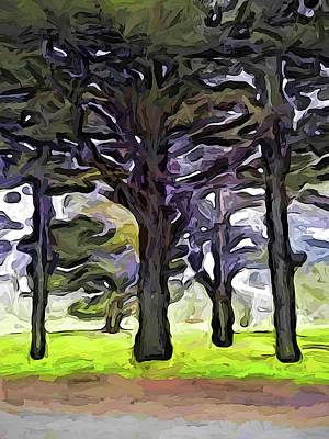 Digital Art - The Landscape With The Trees In A Row by Jackie VanO