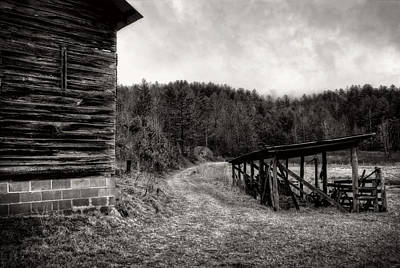 Barn Photograph - The Lane By The Barn In Black And White by Greg Mimbs