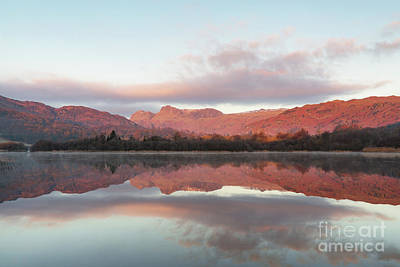 Langdale Pikes Photograph - The Langdales Reflected In Elterwater by Tony Higginson