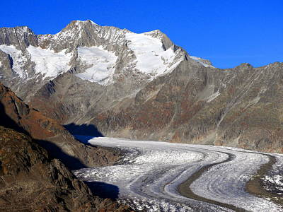 Photograph - The Large Aletsch Glacier In Switzerland by Ernst Dittmar