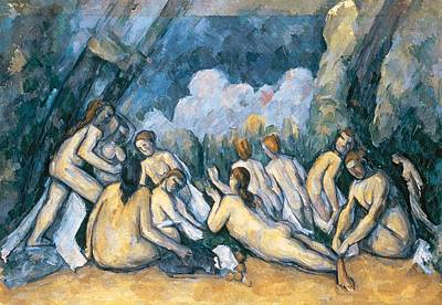 Cezanne Painting - The Large Bathers by Paul Cezanne