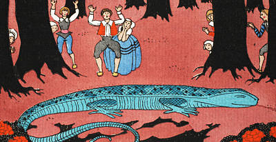 Bass Drawing - The Large Blue Lizard by Georges Barbier