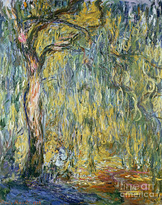 Light Green Abstract Painting - The Large Willow At Giverny by Claude Monet