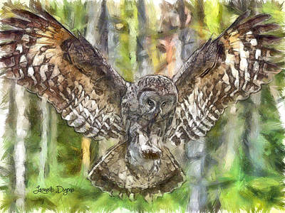 Disc Painting - The Largest Owl by Leonardo Digenio
