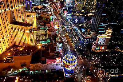 Freemont Street Photograph - The Las Vegas Strip South by Anthony Sacco