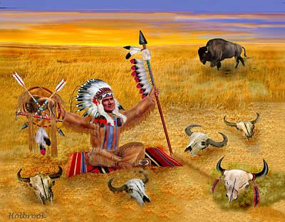 Bison Digital Art - The Last Buffalo by Glenn Holbrook
