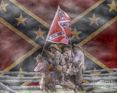The Last Charge Confederate Flag Version Art Print by Randy Steele