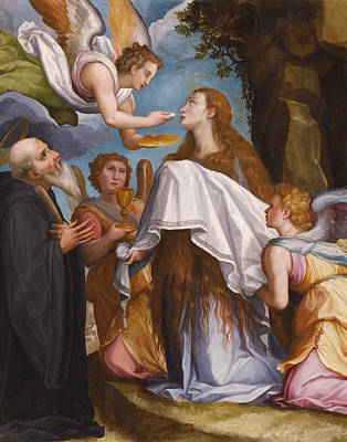 Communion Painting - The Last Communion Of Mary Magdalene by Workshop of Alessandro Allori