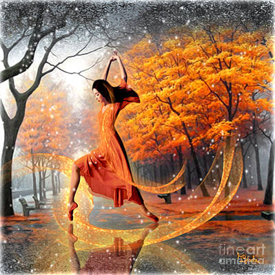 Park Scene Digital Art - The Last Dance Of Autumn - Fantasy Art  by Giada Rossi