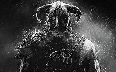 Digital Art - The Last Dragonborn - Skyrim by Taylan Apukovska
