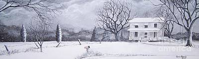Snowscape Painting - The Last Farmhouse by Randy Edwards