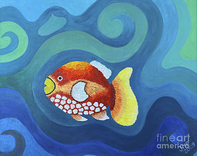 Painting - The Last Fish by Jutta Maria Pusl