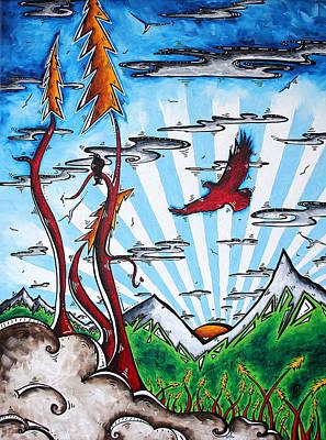 Raven Painting - The Last Frontier Original Madart Painting by Megan Duncanson