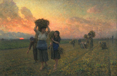 Laborer Painting - The Last Gleanings by Jules Breton