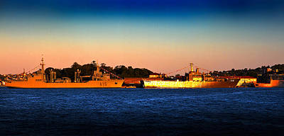 Photograph - The Last Light Shines On Two Warships by Miroslava Jurcik