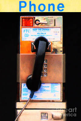 Photograph - The Last Pay Phone On Earth 20150901 Painterly V1 by Wingsdomain Art and Photography