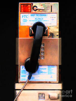 Photograph - The Last Pay Phone On Earth 20150901 Painterly V2 by Wingsdomain Art and Photography