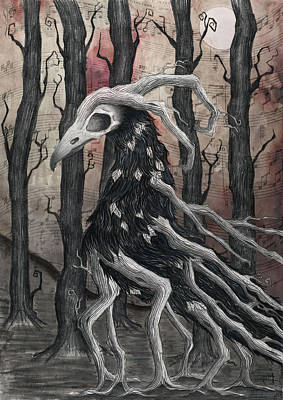 Crow. Bird Music Drawing - The Last Song by Jody Scheers