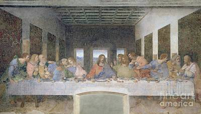 Frescoes Painting - The Last Supper by Leonardo da Vinci