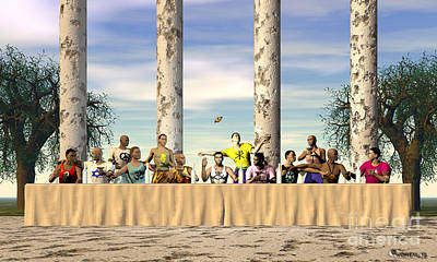 Table Cloth Digital Art - The Last Supper by Walter Oliver Neal