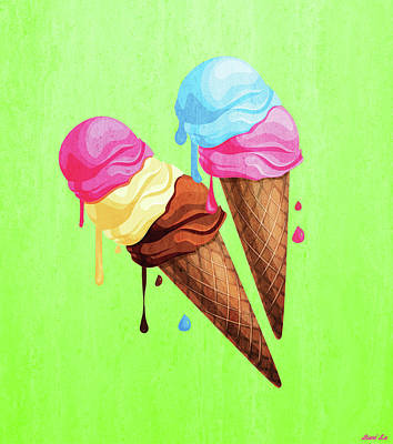 Ice-cream Painting - The Last Taste Of Summer Is The Sweetest by Little Bunny Sunshine