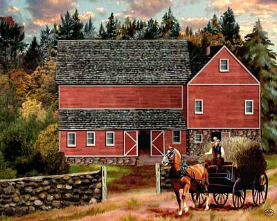 Hay Rides Painting - The Last Wagon by Chambers and Lewis