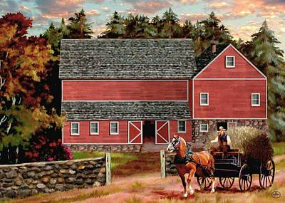 Horse In Autumn Painting - The Last Wagon by Ron Chambers