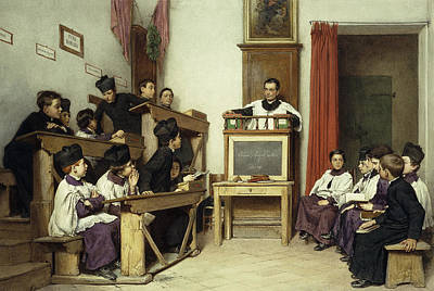 Schoolboy Painting - The Latin Class by Ludwig Passini