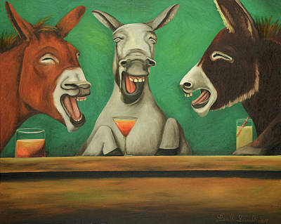 Art Print featuring the painting The Laughing Donkeys by Leah Saulnier The Painting Maniac