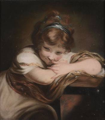 Black Painting - The Laughing Girl by Joshua Reynolds