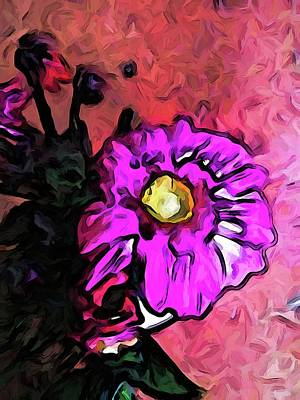 Digital Art - The Lavender And Yellow Flower With The Pink Floor by Jackie VanO