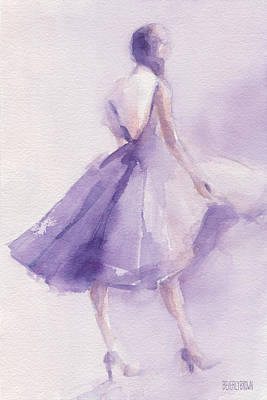 Abstract Fashion Designer Art Painting - The Lavender Dress by Beverly Brown Prints