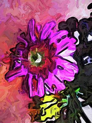 Digital Art - The Lavender Flower Above The Yellow Flower by Jackie VanO