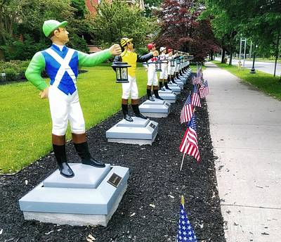 Photograph - The Lawn Jockeys Of Saratoga Springs by Mary Capriole