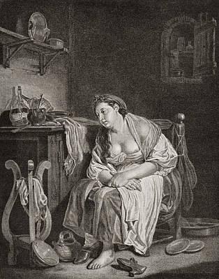 The Lazy Woman, After J.b. Greuze Print by Vintage Design Pics
