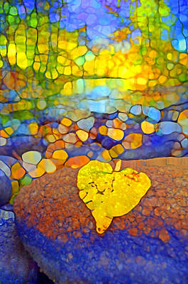 Fallen Leaf Digital Art - The Leaf At The Creek by Tara Turner