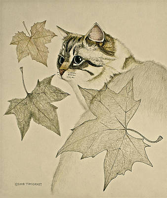 the Leaf Cat Art Print