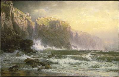 The League Long Breakers Thundering On The Reef Art Print by William Trost