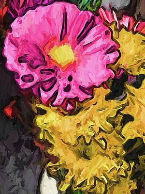 Digital Art - The Leaning Flowers Of Pink And Yellow by Jackie VanO