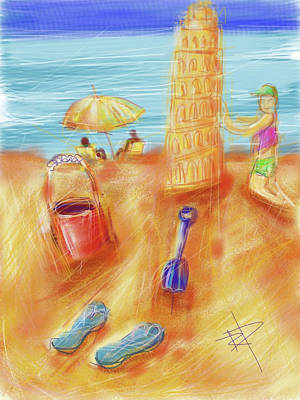 Water Play Digital Art - The Leaning Sand Castle by Russell Pierce