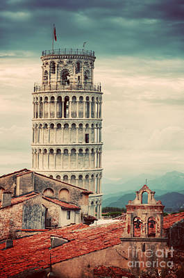 Photograph - The Leaning Tower In Pisa, Italy. Unique Rooftop View. Vintage by Michal Bednarek