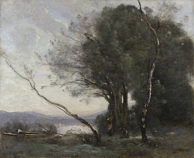 Realist Painting - The Leaning Tree Trunk by Camille Corot