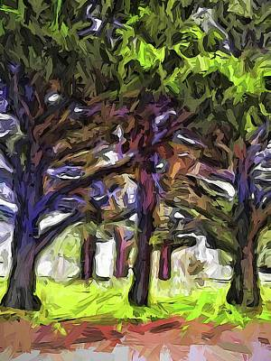 Digital Art - The Leaning Trees Of Purple by Jackie VanO