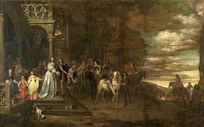 Painting - The Leavetaking Of Captain Hendrik De Sandra Sent Off By His Wife And Children by Pieter van Anraedt