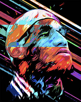 Basketball Abstract Painting - The Lebron James By Nixo by Nicholas Nixo