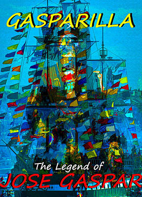 Painting - The Legend Of Gasparilla Poster Work A by David Lee Thompson